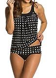 Yigoo Badeanzug Damen Figurformend Große Größe Frauen Vintage Bauchweg Tankini Sport Badeanzüge Push Up Schwarz XXXL