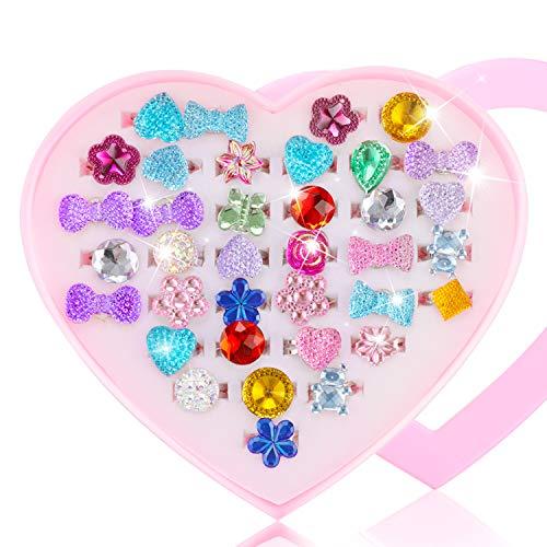 Hifot kinderringe mädchen Prinzessin Schmuck Set 36 Stück, Kristall Verstellbare Ringe für Mädchen mit Herzformkasten, Girl Dress up Rings Fingerringe - Kinder Stimmung Ringe