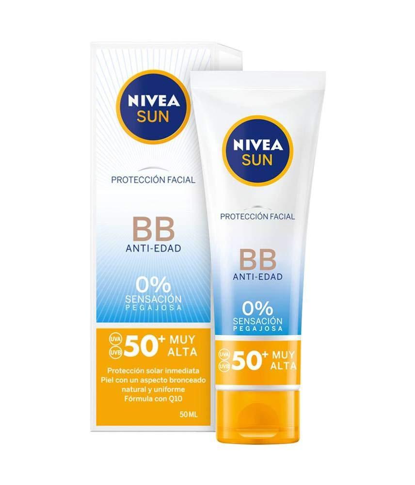 NIVEA SUN Protección Facial UV BB Anti-edad FP 50+ (1 x 50 ml), crema solar facial con 0% sensación pegajosa, crema…