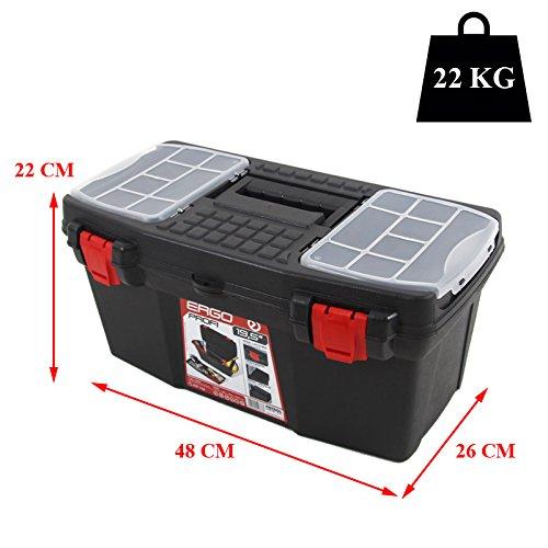 Kunststoff Werkzeugkoffer ERGO Profi 19,5″, 48x26cm Kasten Werzeugkiste Sortimentskasten Werkzeugkasten Anglerkoffer - 2