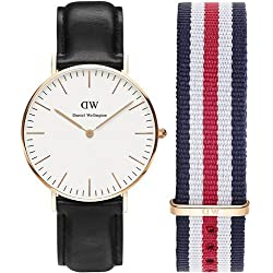 PACK RELOJ DANIEL WELLINGTON MEDIANO UNISEX 36mm ORO ROSA