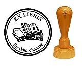 EX LIBRIS EXLIBRIS Stempel « BÜCHER » Durchmesser ca. Ø 40 mm - mit persönlichem Namen und Motiv
