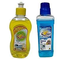 Sunshine Dishwash Liquid 250ml and Detergent gel 500ml(Blue),Combo of 2