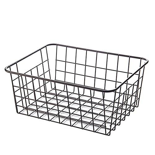Vicoki Korb Metall, Aufbewahrungskiste Aufbewahrungskorb Klein flexible Aufbewahrungskorb aus Metall Haushalt Universelle Gitterbox (Schwarz) (Korb Wire)
