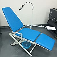 Mike-Dental - Silla dental portátil plegable con bandeja de pulsador LED