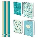 4er SET Stabile türkis weiß blaue HOCHWERTIGE Notizbücher DIN A5 floral mit Herzen - Blankobuch Tagebuch - 100 blanko Seiten weiß leer - HARDCOVER shabby Organizer Notebook Geschenk