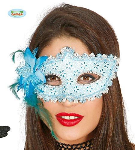 Guirca Venezianische Maske in Hellblau mit Silber und Glitzernd Halbmaske Fasching ()