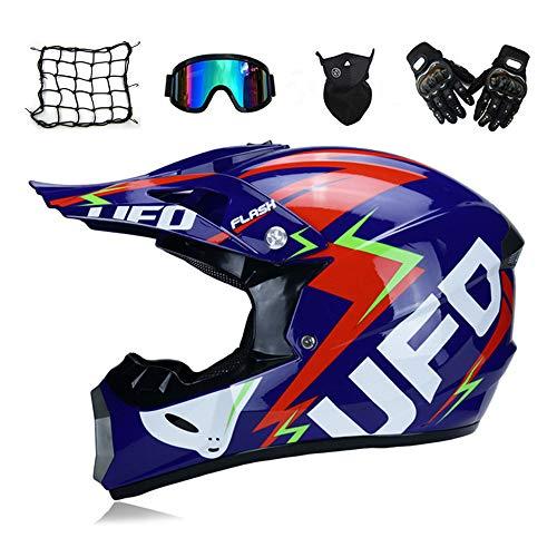 MRDEAR Adulto Casco Motocross Set (5 Pezzi), Blu/UFO, Unisex Casco da Moto Kit Downhill Caschi Moto Cross Offroad Enduro Sport con Fodera Rimovibile,S