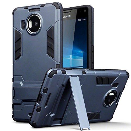 Terrapin Silicone e Cover di Policarbonato Rigida con Funzione di Appoggio per Microsoft Lumia 950 XL Custodia, Colore: Buio Blu - Xl Silicone