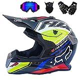 MME Adulte Casque de Motocross Off Road Moto Casque ATV Cross Dot Casques Motocross vélo Enduro Sport Gant avec Masque et Lunettes Storm (8 Style),Blue,M