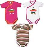 Produkt-Bild: Baby Butt Wickelbody 3er-Pack mit Druckmotiv Pink/Weiß Größe 62/68