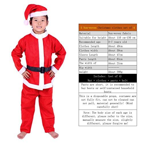 YC DOLL Santa Suit, Weihnachts Ware, Kinder-Santa-Anzug Kids Christmas Halloween Kostüm Cosplay Satz Von, Vliesstoff-Weihnachts Kleidung Set Von 5, Hat + Kleidung + Hosen + Gürtel + Bart,S