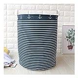 ZXXFR Baumwolle Bast Stoff Wäschekorb Badezimmer Verbrauchsmaterialien Warenkorb Klappbare Aufbewahrungsbox (40 X 50 cm), Blaue Streifen