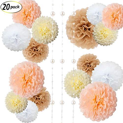 Erosion Papierblumen - Flauschige Seidenpapier Pom Poms - hängende Blume Ball für Baby Shower Dekorationen, Hochzeit Dekor, Geburtstagsfeier Feier - 20 St