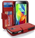 Cadorabo Hülle für Samsung Galaxy S5/S5 NEO - Hülle in INFERNO ROT – Handyhülle mit 3 Kartenfächern - Case Cover Schutzhülle Etui Tasche Book Klapp Style