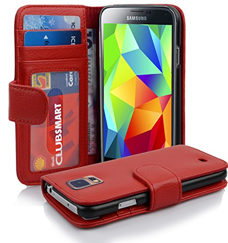 Preisvergleich Produktbild Cadorabo Hülle für Samsung Galaxy S5 / S5 NEO - Hülle in INFERNO ROT – Handyhülle mit 3 Kartenfächern - Case Cover Schutzhülle Etui Tasche Book Klapp Style