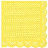 20 Papier-Servietten mit Weißem Spitzen-Perlen-Muster und Wellenrand in Gelb