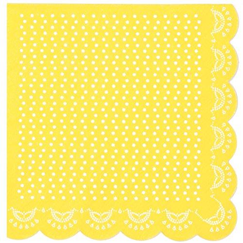 20 Papier-Servietten mit Weißem Spitzen-Perlen-Muster und Wellenrand in Gelb (Ostern Teller Und Servietten)
