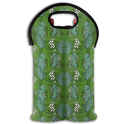 (Tiki Garden Wall 2 Bottle Wine Carrier Wine Tote Carrier Bag/Purse for Champagne, Wine, Water Bottles,Wine Bottle Carrier.)