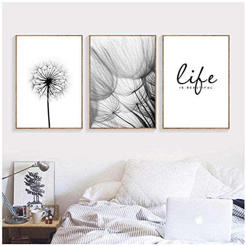 kingxqq Life Quote Wall Pictures Art Print Love Words Canvas Painting Dandelion Art Poster Black White Nordic Wall Decor 50x70cm sin Marco