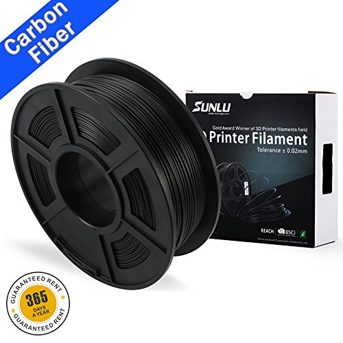 SUNLU transparent PLA Carbon Fiber 3D Printer Filament, PLA Carbon Fiber Filament 1.75 mm, 3D Printing filament Low Odor Dimensional Accuracy +/- 0.02 mm, 2.2 LBS (1KG)