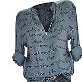 Luckycat Frauen Plus Größe V-Ausschnitt Taste Langarm Brief Bluse Pullover Tops Shirt Blusen Sweatshirt Oberteile Mode 2018