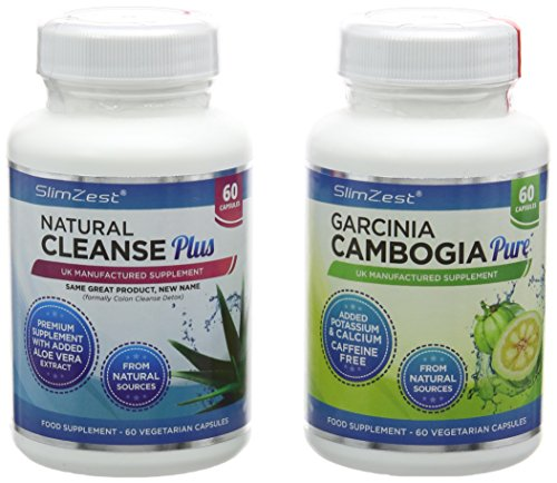 SlimZest Garcinia Cambogia Pure and Colon Cleanse Detox Combo - 60 Capsules Each Test