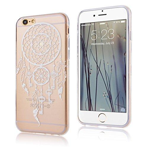 SMARTLEGEND Ultra Slim TPU Handy Tasche für iphone6 (4.7 Zoll) Weich Case Schön Design Muster Hülle Flexible Transparent Material Soft Schutzhülle - Löwenzahn Traumfänger Weiß