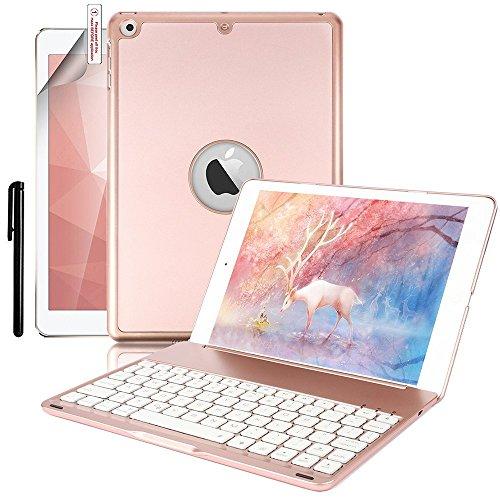 Foto de iPad 9.7 2017 Caja del Teclado, Boriyuan Folio Ultra Delgado Cubierta del Soporte de Shell Inteligente con Teclado Bluetooth Retroiluminado Tnalámbrico Para Apple iPad 2017 Tableta, Oro Rosa