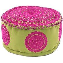 Cojín Puff Indio Rosa y Verde Pistacho. 21 x 40 x 40 cm.