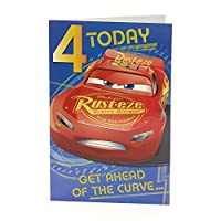 Age 4 Birthday Card - Cars Birthday Card, 4th Birthday, Lightning McQueen Birthday Card, Ideal Gift Card for Kids - Includes Colour In Activity Inside - Disney
