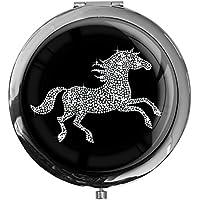 """metALUm - Extragroße Pillendose in runder Form""""Pferd in Silber"""" preisvergleich bei billige-tabletten.eu"""