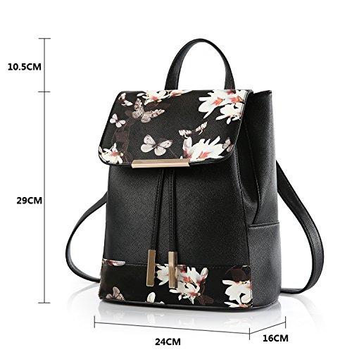 BYD - PU pelle Donna Female Borse a tracolla Backpack Borsa a Spalla Fashion Travel Bag Office Bag Shoulder Bag Designer Borse Farfalla