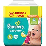 Pampers Baby Dry Couches Taille 6 ( + 15 kg/XL) Jumbo + Pack (x62 couches)