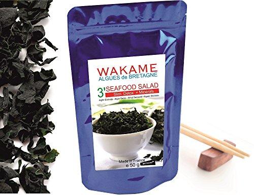 Wakame Algen getrockneter Instant 3' Algen 100 % Wakame-Flocken Premium Quality -wiederverschließbaren Beutel, bleumarine Bretania-France -
