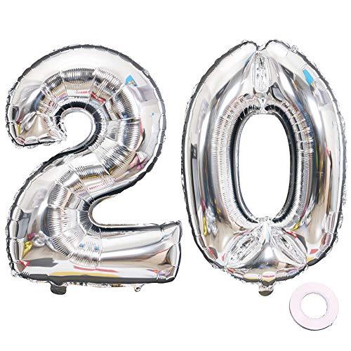 Jurxy Luftballon Zahl 20 Silber Geburtstag Folienballon Helium Folie Luftballons für Geburtstag Jubiläum 40 Zoll - Riesenzahlen #20