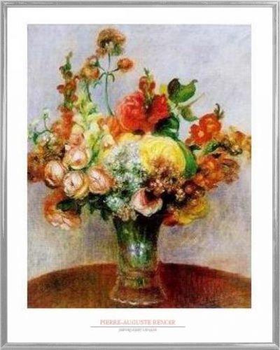 1art1 Pierre Auguste Renoir Poster Kunstdruck und Kunststoff-Rahmen - Fleurs Dans Un Vase (50 x 40cm)