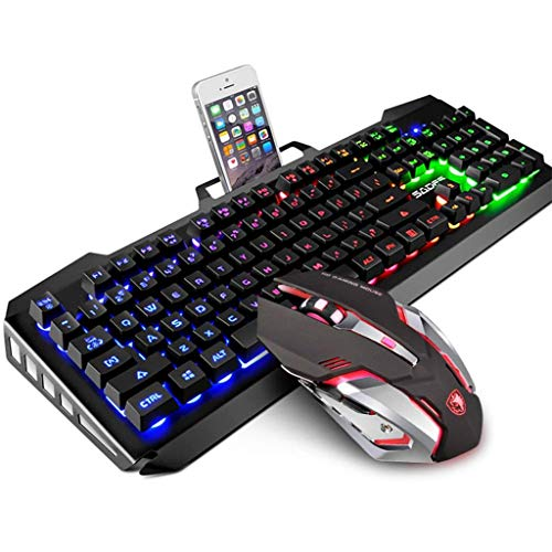 2000 Flat Panel (HourenJP Faltbare Stand-Game-Tastatur mit 104 Tasten, Anti-Ghosting-Funktion, beleuchtete Gaming-Folientastatur, USB-Tastatur mit Hintergrundbeleuchtung und Metallmaus)