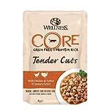 Wellness CORE Katze Tender Cuts Getreidefreies Nassfutter Hühnchen & Pute in Soße, 24 x 85 g Pouches