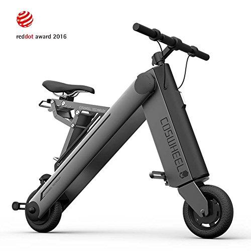 Coswheel A-ONE Vélo Pliant Electrique, Facile à Plier Electrique Scooter avec 3 Modes de Rouler pour des Adultes où des Enfants-Couleur: Gris, Argent