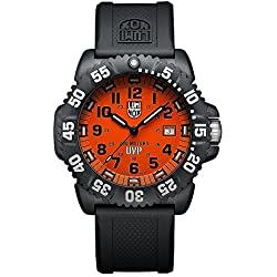 Luminox Men's Scott Cassell 44mm Black Silicone Band Polycarbonate Case Quartz Orange Dial Watch 3059SET