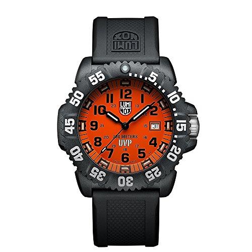 Luminox Men's Scott Cassell 44mm Black Silicone Band Polycarbonate Case Quartz Orange Dial Watch 3059SET