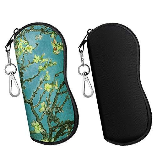 MoKo Brillenetui - [Ultra Lightweight] 2 Stück Neopren Reißverschluss Sonnenbrille Tasche mit Gürtelclip für Brillen, Rahmen, Tragbare Case für Schlüssel, Bleistifte, Karten - Schwarz + Aprikose Blume