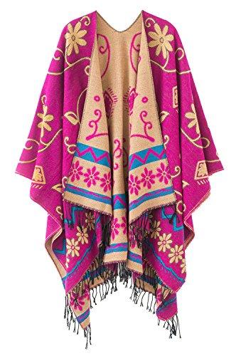 Urbancoco Damen Winter Poncho Stola Böhmen Cape Schal Wrap (hot pink)