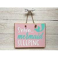 PotteLove Shh Mermaid Sleeping Wooden Door Banner Wood Plaque Hanging Sign 13cm X 18cm