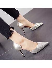 FLYRCX Lentejuelas sexy chica sexy primavera verano tacones de punta fina con zapata de parte del calzado de trabajo...