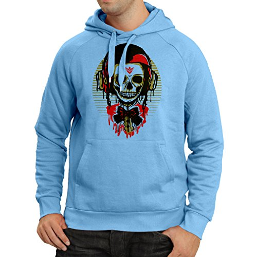 lepni.me Sweatshirt à Capuche Manches Longues Un crâne de Mode avec Un Casque de Moto (Large Bleu Multicolore)