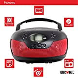 from Duronic Duronic | Red | RCD008/RD Portable Compact Boombox CD Player | FM Radio | Headphone Jack | Aux-In Jack To Play MP3 Files From Your Smartphone or Tablet Model RCD008RD