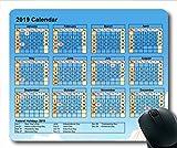 2019 Kalender-Mauspad personalisiert, Kalender 376 Gaming-Mauspad, Kalenderplaner 2019 mit Feiertagsdetails