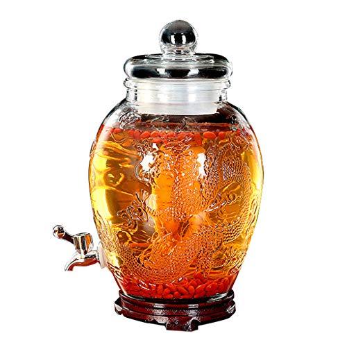 DOOST Wasserhahn aus rostfreiem Stahl/mit dickem Glas versiegelte Dose/niedriger Holzboden/hochwertiges Relief für Spender für kalte Getränke für Speise-, Buffet- oder Heimgebrauch